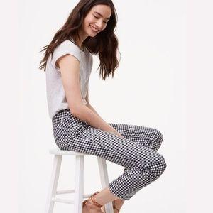 Loft NWOT Gingham Skinny Ankle pants